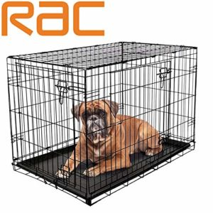 dog puppy cage folding 2 door crate with plastic tray large 36-inch black (large) RAC Dog Puppy Cage Folding 2 Door Crate with Plastic Tray Large 36-inch Black (Large) Dog Puppy Cage Folding 2 Door Crate with Plastic Tray Large 36 inch Black Large 0 300x300