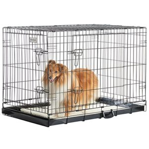 """milo & misty 42"""" folding 2 door black puppy & dog pet crate cage with plastic tray - x-large Milo & Misty 42"""" Dog Crate – Lockable XL Puppy Cage with Folding Design and Double Door – Non-Chew Metal MILO MISTY 42 Folding 2 Door Black Puppy Dog Pet Crate Cage with Plastic Tray X Large 0 300x300"""
