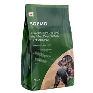 amazon brand - solimo - complete dry dog food for adult dogs Amazon Brand – Solimo – Complete Dry Dog Food for Adult Dogs, Rich in Beef with Peas, 2 Packs of 5kg Amazon Brand Solimo Complete Dry Dog Food for Adult Dogs 0 300x300