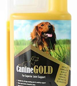 canine gold joint care for dogs with natural oils, turmeric and aloe vera Canine Gold Joint Aid For Dogs (1000ml) – 100% Natural Hip & Joint Care Liquid Supplement with Turmeric, Aloe Vera… CANINE GOLD Joint care for dogs with natural oils turmeric and aloe vera 0 269x300