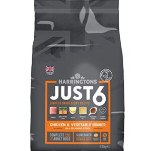 harringtons just 6 Harringtons Just 6 Slow Baked Complete Grain Free Chicken and Sweet Potato Dry Dog Food, 2 kg, Pack of 4 Harringtons Just 6 0 300x300