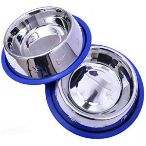 mr. peanut's set of 2 etched stainless steel dog bowls, easy to clean, bacteria & rust resistant, with non-skid no-tip silicone ring, feeding bowls for dogs Mr. Peanut's Set Of 2 Etched Stainless Steel Dog Bowls, Easy To Clean, Bacteria & Rust Resistant, With Non-Skid No-Tip… Mr Peanuts Set Of 2 Etched Stainless Steel Dog Bowls Easy To Clean Bacteria Rust Resistant With Non Skid No Tip Silicone Ring Feeding Bowls For Dogs 0 300x300