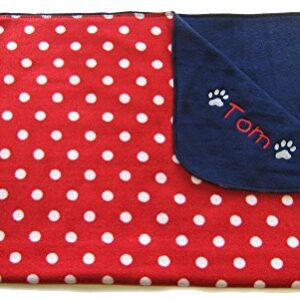 spoilt rotten pets vintage style red polka cosy paw double thickness lambspun fleece blanket. embroidered with any dog, cat, kitten or puppy name Spoilt Rotten Pets Red Polka Dot Vintage Spot Double Thickness Blanket with A Personalised Cotton Storage Bag Gift For… Spoilt Rotten Pets Vintage Style Red Polka Cosy Paw Double Thickness Lambspun Fleece Blanket Embroidered With Any Dog Cat Kitten or Puppy Name 0 300x300