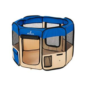 "zampa 45"" animaux parc chien portable pliable/chat/chiot chenil d'exercice Zampa 114cm Pet Playpen Foldable Portable Dog / Cat / Puppy Exercise Kennel (Extra Small (74 x 74 x 43) CM, Blue) Zampa 45 Animaux Parc Chien Portable PliableChatChiot chenil dexercice 0 300x300"