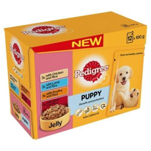 pedigree 12 x 100g meat & rice in jelly wet puppy food Pedigree Puppy Wet Food with Meat Selection in Jelly, 12 x 100g Pedigree 12 x 100g Meat Rice In Jelly Wet Puppy Food 0 300x300