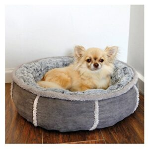 rosewood soft luxurious and comfortable cat dog donut bed with anti slip base,  51 cm, grey Rosewood 40 Winks Deep Plush Donut Bed, 20-inch, Parent Rosewood 40 Winks Deep Plush Donut Bed 20 inch Parent 0 300x300