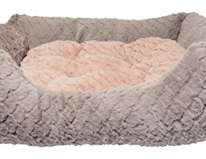 rosewood luxury square dog bed, small, grey/pink Rosewood Small dog bed for dogs, cats, kittens and puppies ,machine washable, super soft and cosy plush dog bed, grey… Rosewood Fabric Reversible Cushion Square Plush Dog Bed 0 300x232