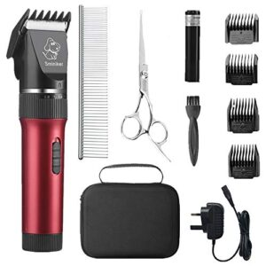 sminiker professional low noise pet clippers rechargeable cordless cat and dog clippers dog trimmer professional dog shaver with storage bag for cats dogs and other animals,pet grooming kit(red) Sminiker Professional Low Noise Pet Clippers Rechargeable Cordless Cat Clippers Dog Trimmer Professional Dog Shaver with… Sminiker Professional Low Noise Pet Clippers Rechargeable Cordless Cat and Dog Clippers Dog Trimmer Professional Dog Shaver with Storage Bag for Cats Dogs and Other AnimalsPet Grooming KitRed 0 300x300