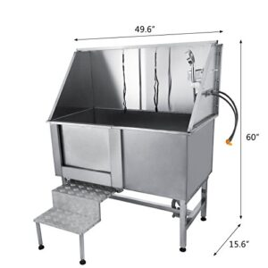 "foraver 50"" professional stainless steel pet dog grooming bath tub with faucet walk-in ramp and accessories large dog pet wash tubs grooming bathtub FORAVER 50″ Professional Stainless Steel Pet Dog Grooming Bath Tub with Faucet Walk-in Ramp and Accessories Large Dog Pet Wash Tubs Grooming Bathtub TravelerK 50 Professional Stainless Steel Pet Dog Grooming Tub Large Pet Grooming Tub with Faucet and Walk in Ramp Accessories 0 1 300x300"