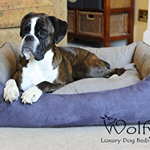 wolfybeds faux suede dog bed Wolfybeds Luxury Faux Suede Dog Bed Slate 2-tone (Medium) Wolfybeds Faux Suede Dog Bed 0 300x300